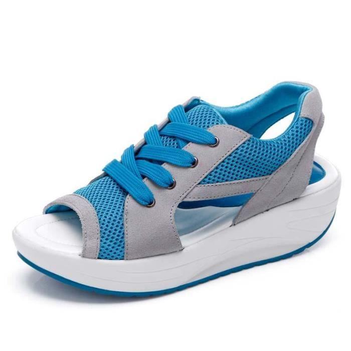 Sandales Femme Taons Compensées Mode Rouge BsRAu1ekop