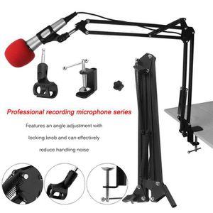 MVPOWER 6PCS Microphone /à Condensateur pour Studio Broadcasting Enregistrement Chant en Ligne Discuter Suspension Scissor Bras Stand Shock Kit de Fixation de Montage XLR Audio Cable pour Ordinateur Po