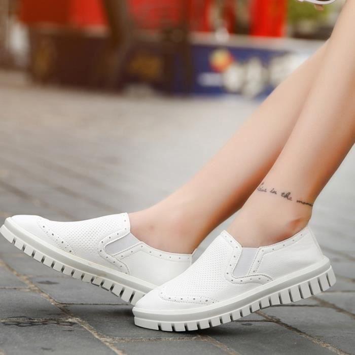 chaussures multisport Femme Plate-forme de coréenne douce sport en cuir Souliers simples de femmeblanc taille7