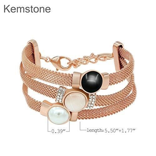 Womens Tri Layer Simulated Pearl Opal Crystal Rose Gold Plated Strand Bracelet,7.27 Z5BSM
