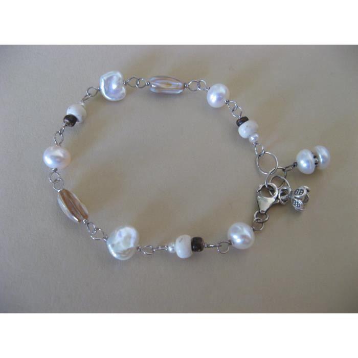 Cultured Pearl Femmes Bracelet en argent sterling et bois de coco Bijoux Artisan ton neutre Shell XBLY8