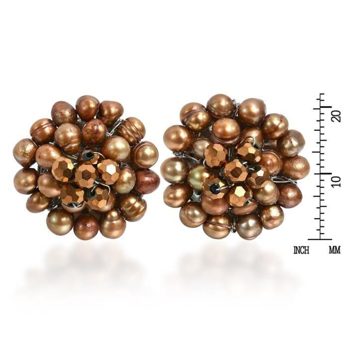Femmes Golden Elegance culture deau douce Perles Teints Chrysanthème Clip Boucles doreilles S5PCO