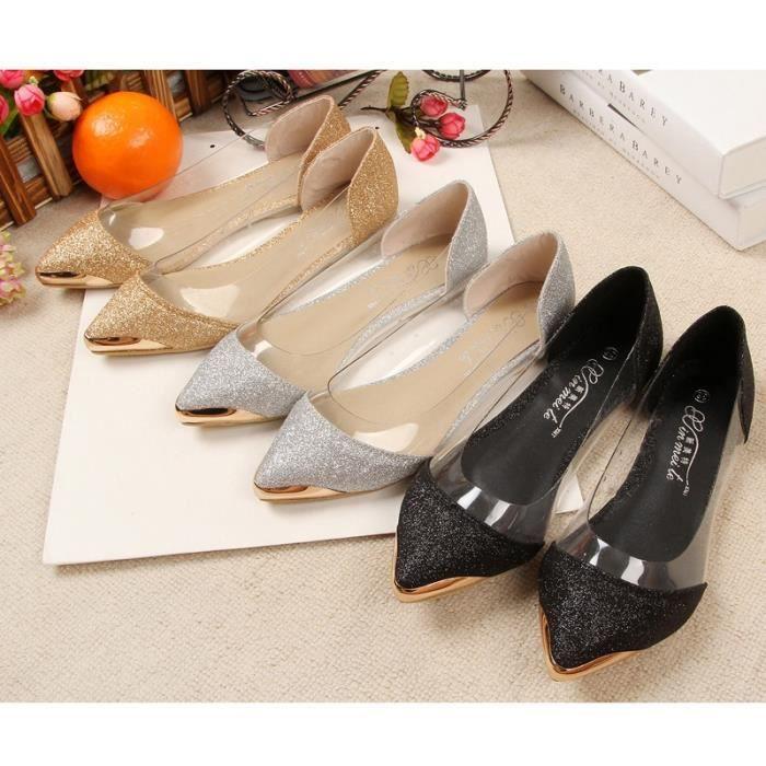 Nouveau Chic Métal Transparent Fermé bout pointu Brillant Pointu Ballerines plates Femmes & # 39; Chaussures,noir,34