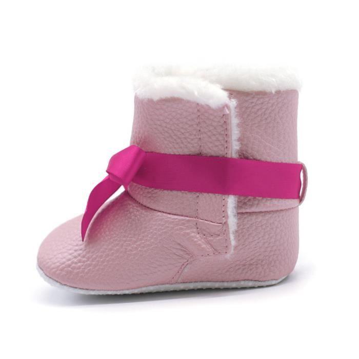 Fille Gar Doux Bottes Nourrisson Bb Bottillons De Rchauffement Crib rose on Neige Enfant Chaussures Bowknot CwFg4xd4q