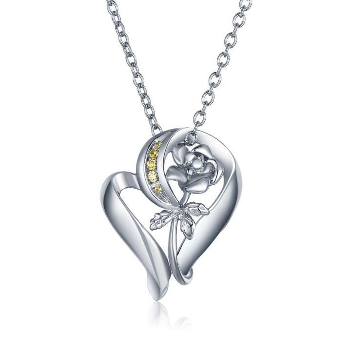 Mblife Coeur Rose Fleur Pendentif Collier Femme Argent Sterling 925