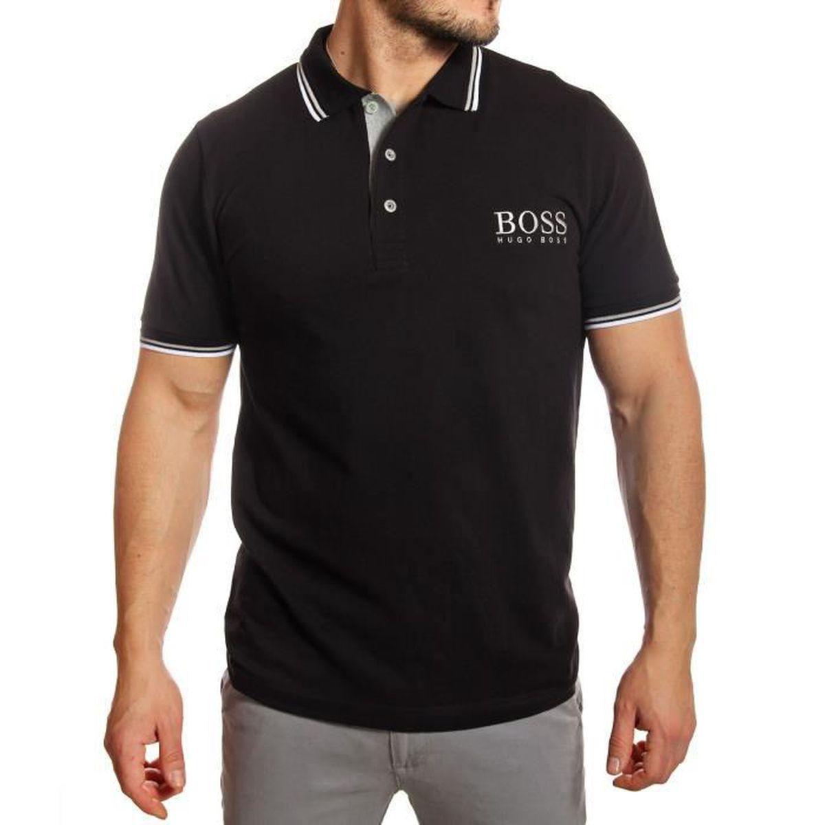 hugo boss polo homme noir en coton piqu manches courtes noir noir achat vente polo. Black Bedroom Furniture Sets. Home Design Ideas