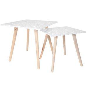 TABLE BASSE Lot de 2 tables gigognes plateaux carrés arabesque