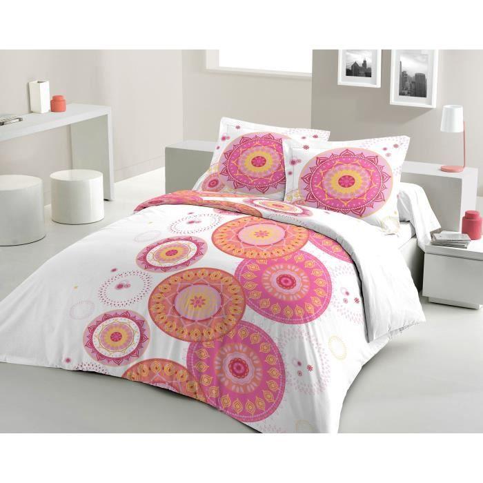 Matière : 100% coton tissé serré 54 fils - Dimensons : 200x200/ 65x65 cm - Coloris : blanc, rose et orangePARURE DE COUETTE