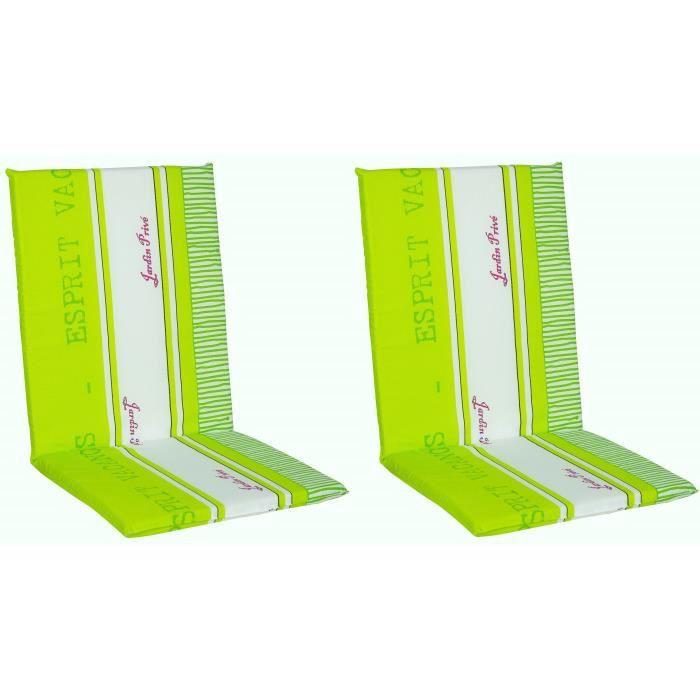 Dimensions assise : 40x41x3 cm - Dimensions dossier : 49x41x3 cm - Coloris : Vert anis et blancCOUSSIN D'EXTERIEUR - COUSSIN DE BAIN DE SOLEIL - COUSSIN DE CHAISE DE JARDIN