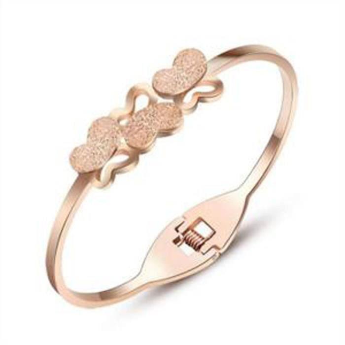 Lady Scrub Bracelet en acier plaqué Bracelet papillon du cadeau danniversaire de votre ami