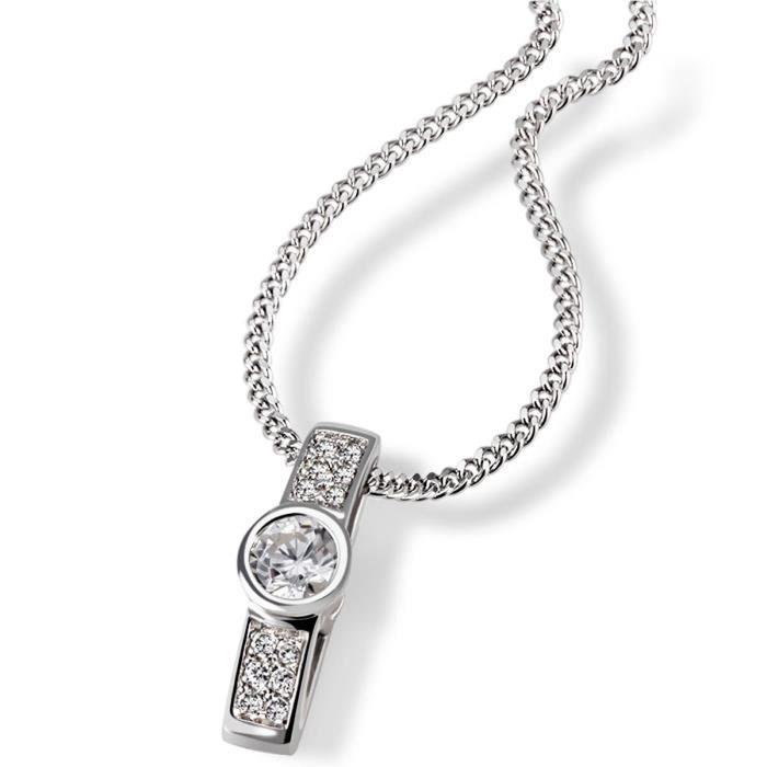 Chaîne Pour Femme Avec Pendentif En Argent 925 Rhodié Sertie De Zirconium-blanc - 45 Cm Pa-c7307s CUV0E