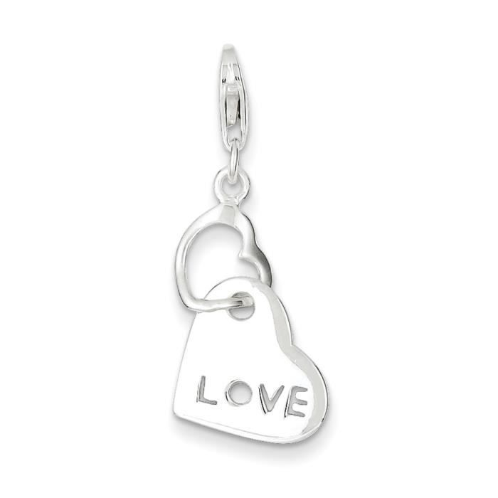 Charm en argent Sterling en forme de cœur Love