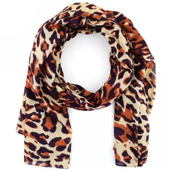 Foulard femme imprimé léopard marron beige et noir Marron Marron ... b206a95284f