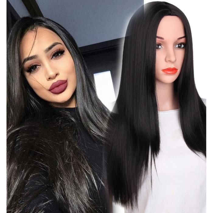 Noir Perruque de Cheveux Droit Faux Cheveux