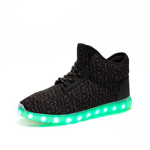 Hommes Femmes Light Up Chaussures montantes Baskets montantes Bottes Led Glowing clignotant cheville E4NP3 Taille-38