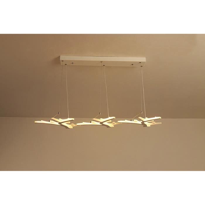 Suspension Led Modern Luster Contemporain Design 3 Tetes Branche Glace Reglable Pour Bureau Salle A Manger Chambre A Coucher Salon