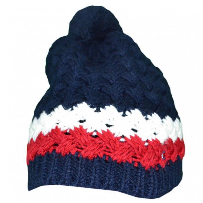 8af5e8e7598 Bonnet tricoté Tommy Hilfiger bleu marine en laine pour homme - Couleur   Multicolore - Taille  TU
