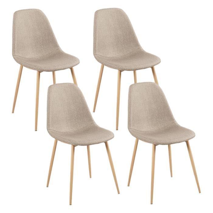 Lot De 4 Chaises Design Scandinave Tendance Nordique Pietement Metal Couleur Bois Naturel Et Assise En Tissu 45x50xH85cm Beige