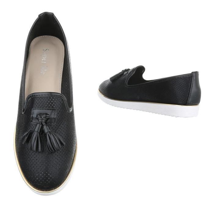 Femme chaussures flâneurs moderne Chaussures de plate-forme noir 36 eo0BR