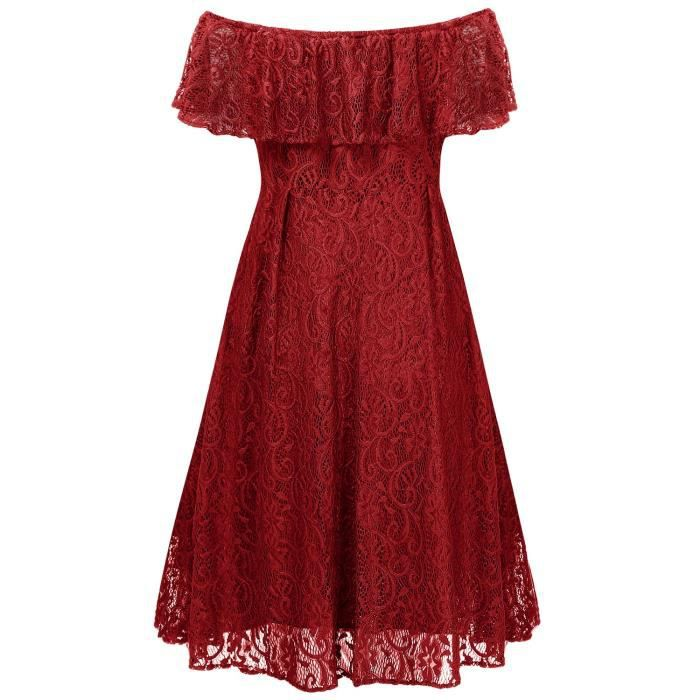 Womens 1950s Vintage Floral Lace Retro Party Cocktail Formal Off Shoulder Swing Dresses 2QUWUP Taille-34