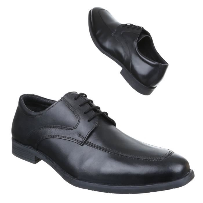 homme chaussures affaires-chaussures cuir lacer noir 40
