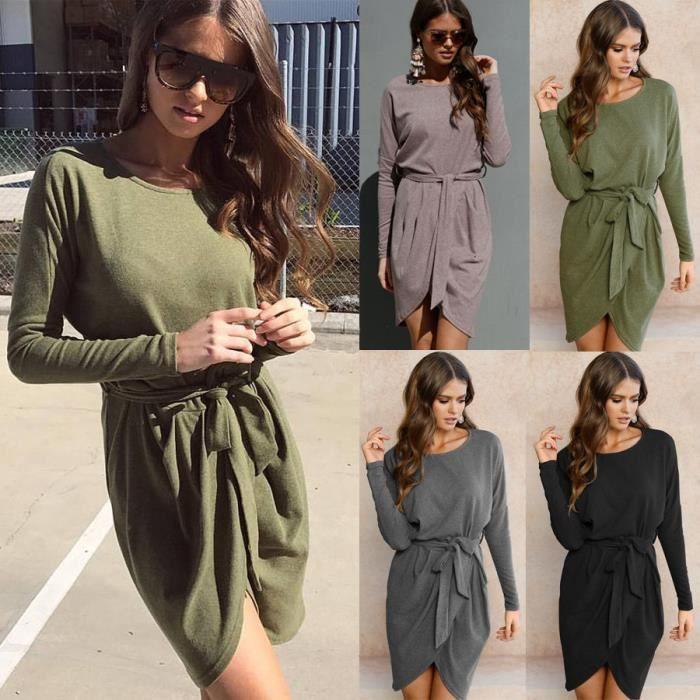 3ebe6ee24c8 ... FindDress Robe Femme en tricot asymétrique Large robe pull Manches  Longues Femme Noire Gris DéContracté Confort ...