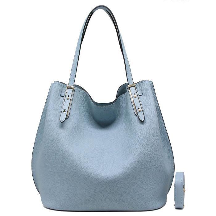 155f6d38e9 CRAZYCHIC - Sac à main shopping femme imitation cuir grainé 2 en 1 - Lot de  2 avec pochette - Fourre tout cabas grand ...
