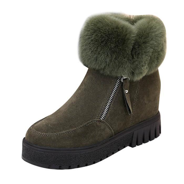 Femmes bottes de cheville de mode Flats chaussures occasionnelles chaudes Suede chaussures vert