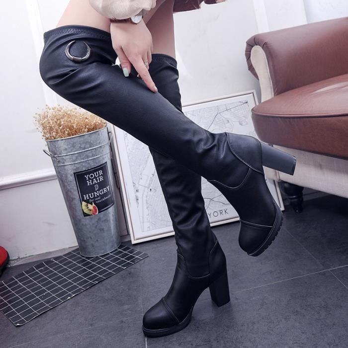 Les femmes Bottes hiver Printemps Mode Femmes Bottes fond plat Chaussures-dessus du genou Cavalières Bottes en daim Marque