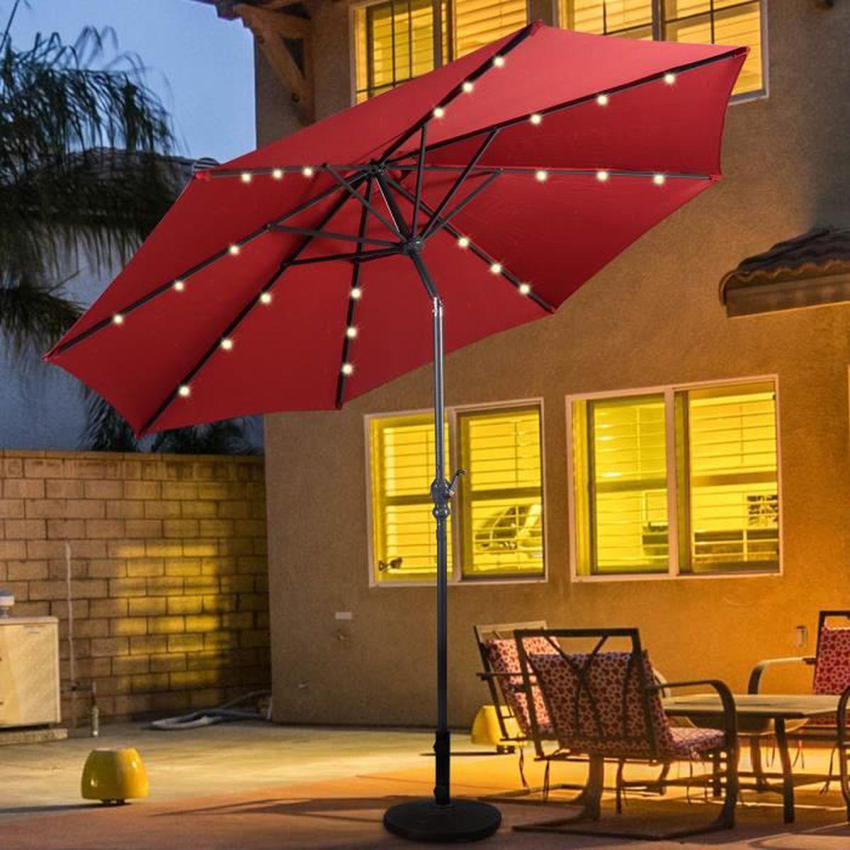 parasol inclinable diam tre 3m avec led en acier patio. Black Bedroom Furniture Sets. Home Design Ideas