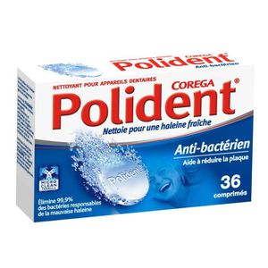 BAIN DE BOUCHE POLIDENT COREGA Nettoyant antibactérien - 36 Compr