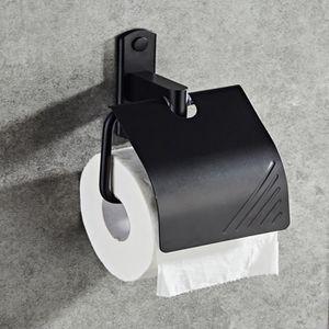 Salle De Bain Papier Toilette Support Mural Alumimum Noir Simple Rouleau avec housse