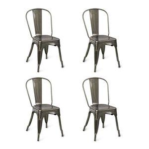 CHAISE Lot de 4 chaises de salle à manger style industrie