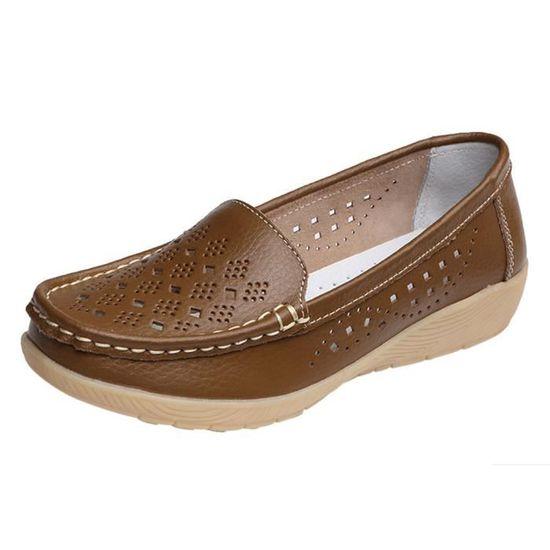 Femmes Wedges Casual souple Bas extérieur Slip confortable sur les pois Chaussures bateau Kaki_Cu*1317  Kaki - Achat / Vente slip-on
