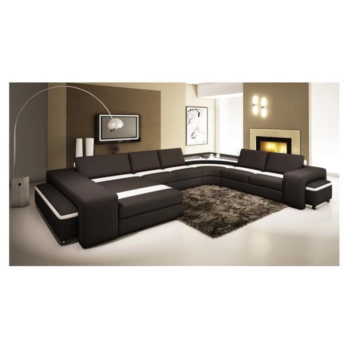 canap panoramique cuir noir et blanc avec lumi re achat vente canap sofa divan. Black Bedroom Furniture Sets. Home Design Ideas