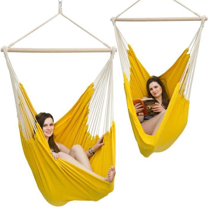 hamac suspendu pour s 39 asseoir xxl 185x130cm 100 coton 150kg si ge pour se balancer avec pivot. Black Bedroom Furniture Sets. Home Design Ideas