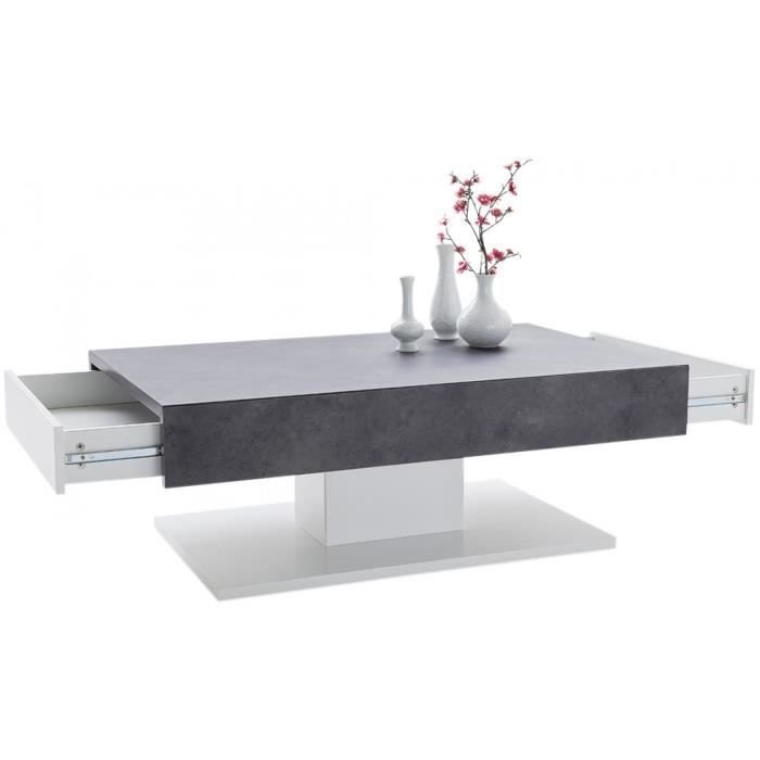 Table Basse Design Avec 2 Tiroirs En Bois Mdf Coloris Blanc Mat Et