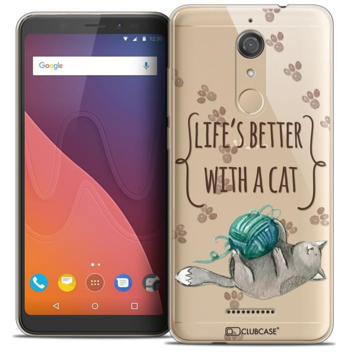 Coque Wiko View (5 7 ) Extra Fine Quote Life s Better With a Cat
