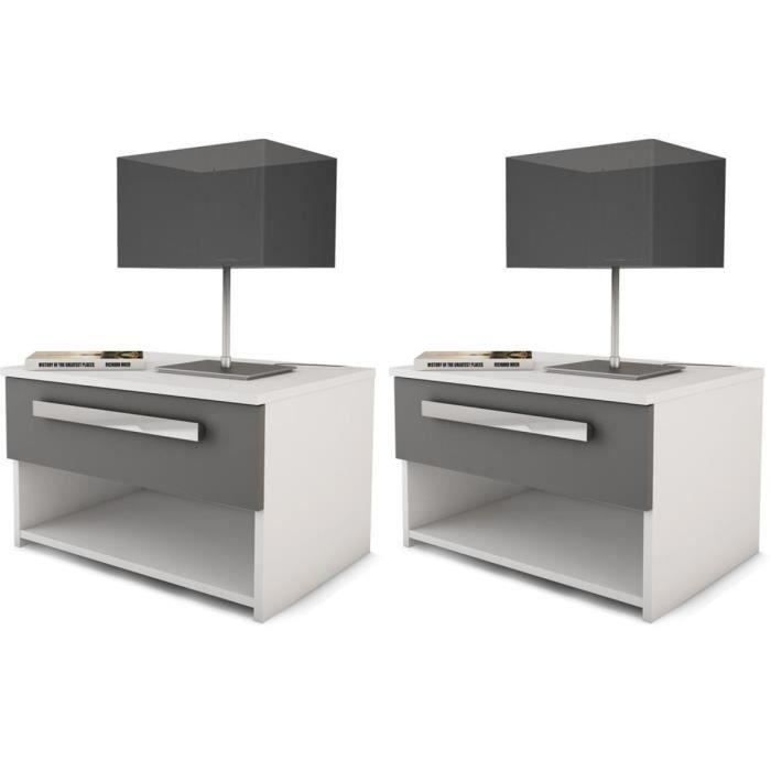 Chevet effy 55 5 x 35 x 42 cm gris graphite blanc perle lot de 2 achat vente bout de - Moderne nachtkastje ...