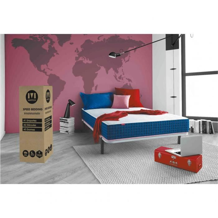 merinos matelas super bed 140x200 mousse + mousse à mémoire - achat