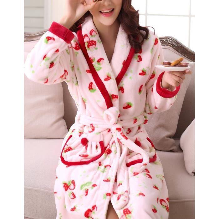 robe de chambre fantaisie fraises rose femme polaire achat vente robe de chambre cdiscount. Black Bedroom Furniture Sets. Home Design Ideas