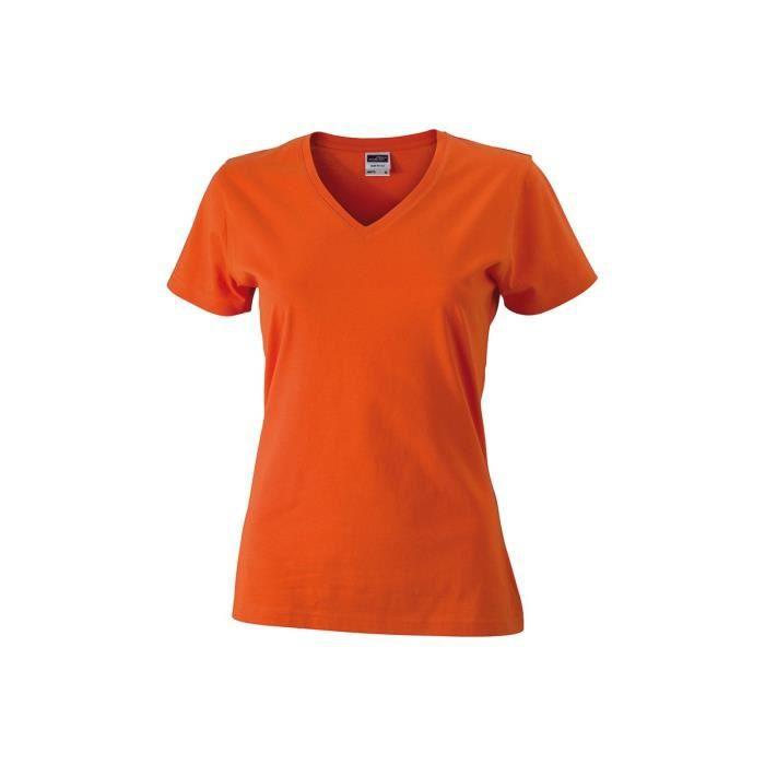 633e74430b3 Tee-shirt cintré col V femme - ORANGE FONCÉ