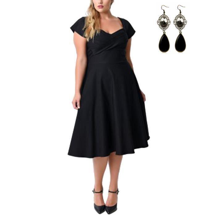 femme robe vintage 50 ann es grand taille xl 5xl manche court 1950 r tro soir e cocktail audrey. Black Bedroom Furniture Sets. Home Design Ideas