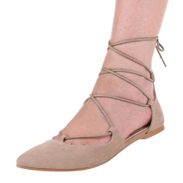 Femme escarpin talon stiletto chaussure soir chaussure sandalette laçage châtain clair
