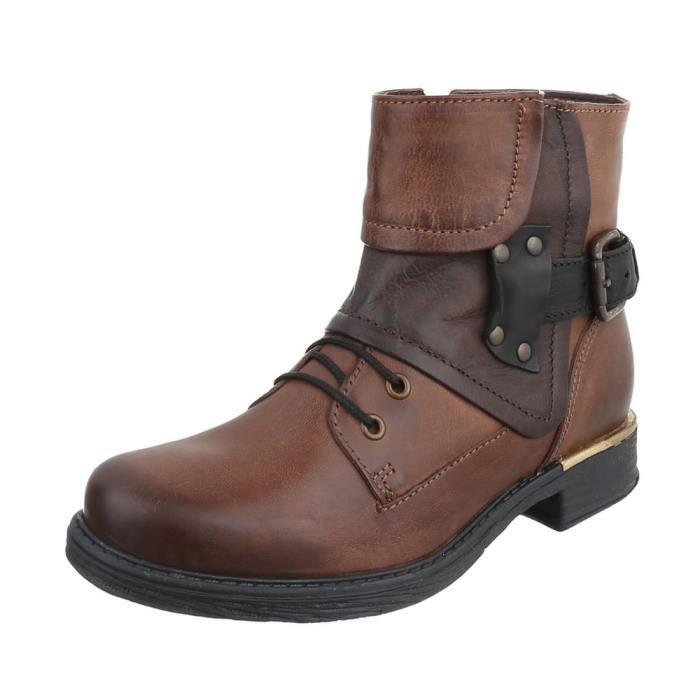 Femme chaussures bottillon Used optique cuir bottes marron 41