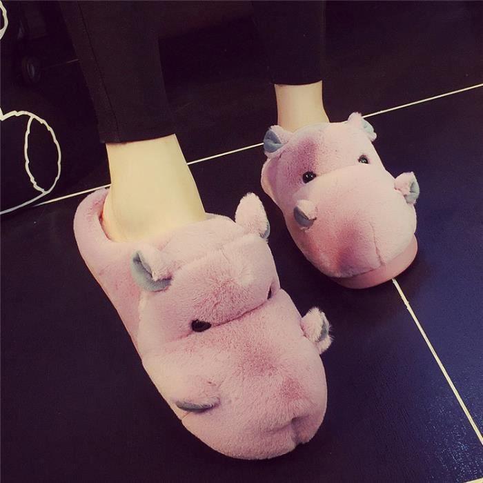 Pantoufles de coton hippopotames chaudes d'hiver Pantoufles femme Pantoufles hommes Xxhaf82