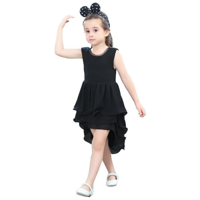 solides manches robe de fille enfants ourlet irrégulier vêtements