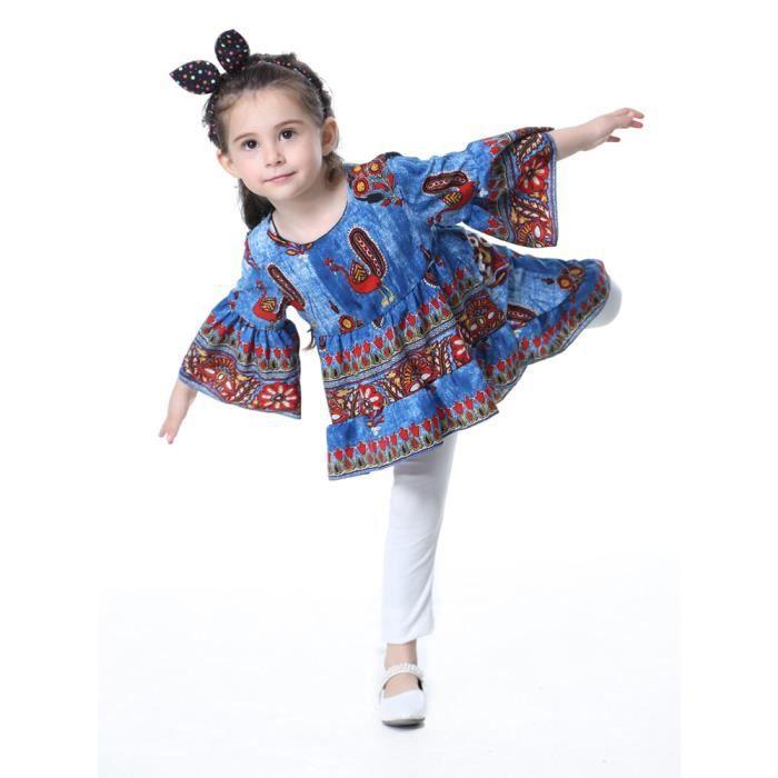 robe de fille évasé à long motif paon manches robe asymétrique princesse