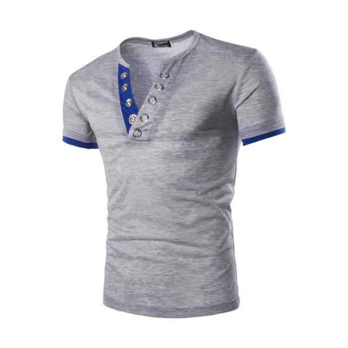 418204779fec T shirt Homme col V de marque luxe pas cher en Couleur unie avec col boutonné  Tee shirt Hommes à manches courtes Vêtement - Noir