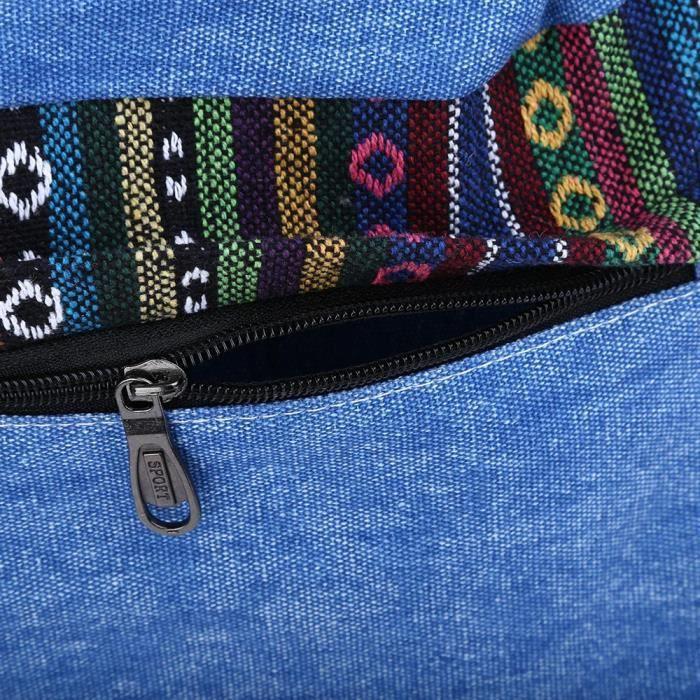 Dos Éclair A Femmes Tribal Toile Sac Ethnique Backpack Girl Bleu Lady Fermeture Bandouliere 8AP8z
